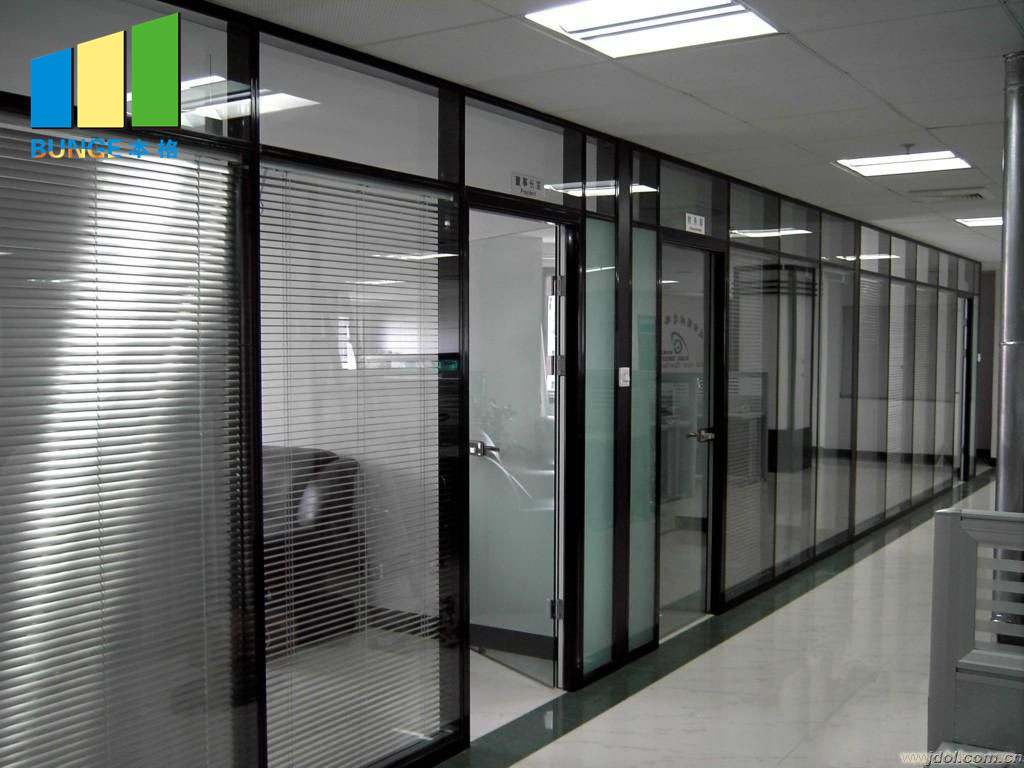 product-EBUNGE-Aluminium Frame Decorative Tempered Office Solid Glass Partition Wall-img-1