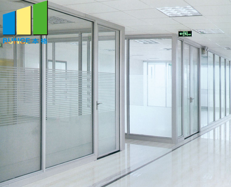 product-EBUNGE-Aluminium Frame Decorative Tempered Office Solid Glass Partition Wall-img-2