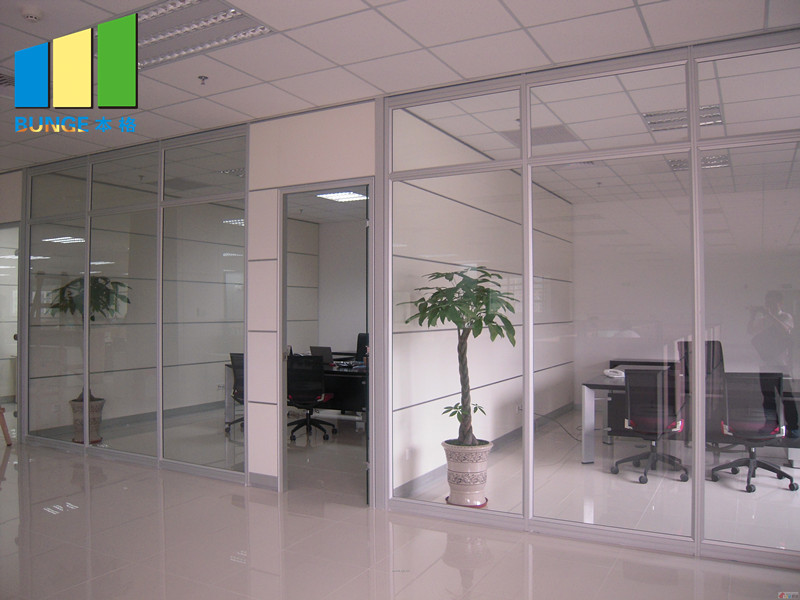 product-Aluminium Frame Decorative Tempered Office Solid Glass Partition Wall-EBUNGE-img-11
