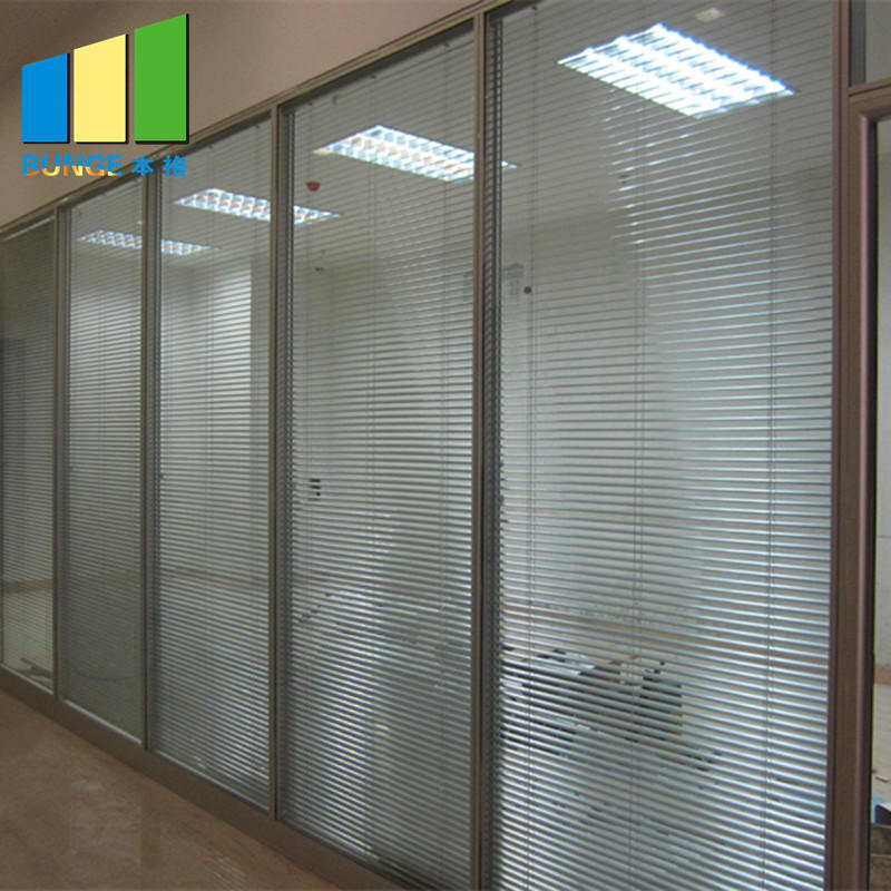 Demontable Office Tempered Glass Partition Wall with Aluminium Frame