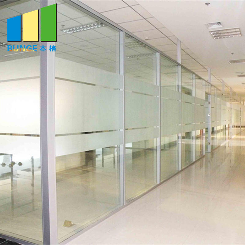 Demontable Office Tempered Glass Partition Wall with Aluminium Frame-EBUNGE