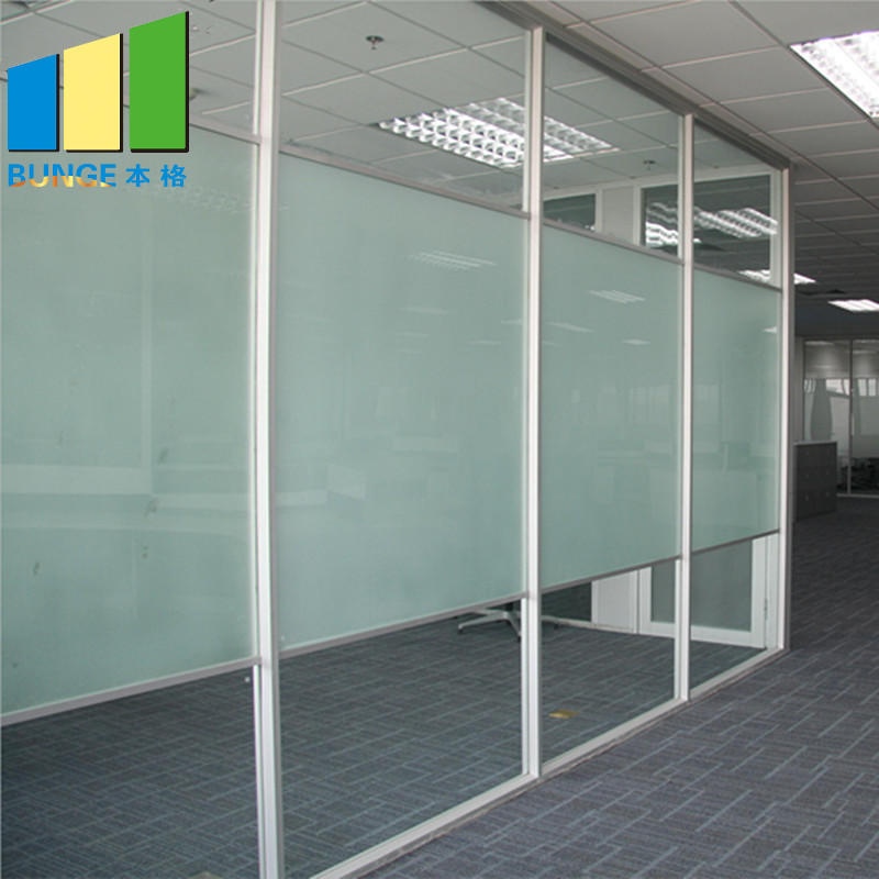 Office Single Double Tempered Clear Glass Partition Wal