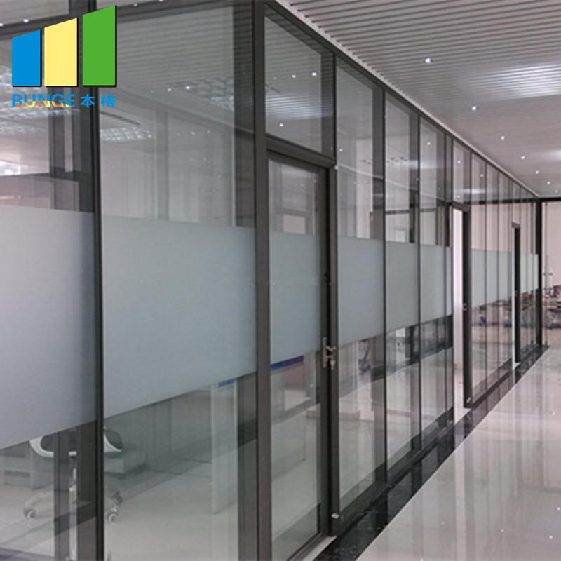 Glazed Aluminium Profile Office Glass Partition Wall