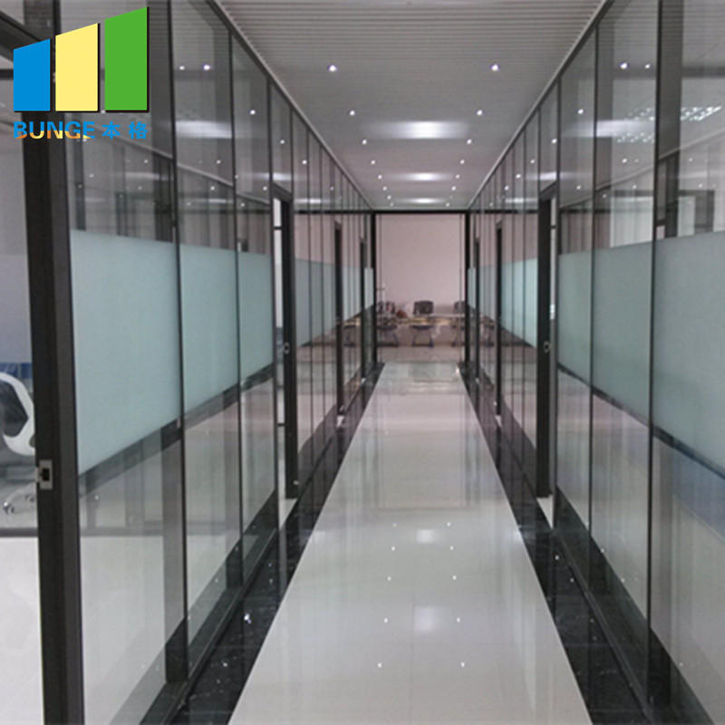 Commercial Office Aluminium Frame Fixed Single Glass Partition Wall-EBUNGE