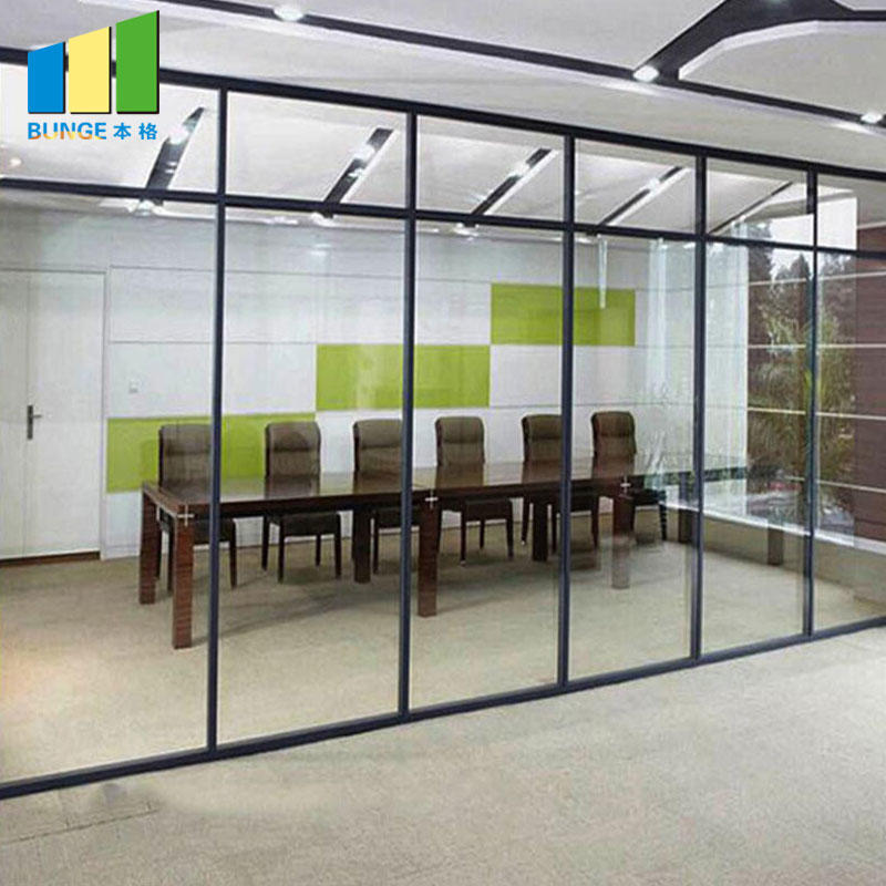 Office Aluminum Frame Sliding Glass Partition Walls-movable wall, folding partition,operalbe wall-EBUNGE