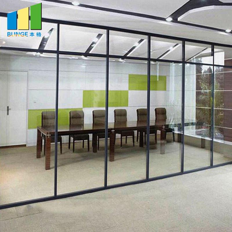 Office Aluminum Frame Sliding Glass Partition Walls