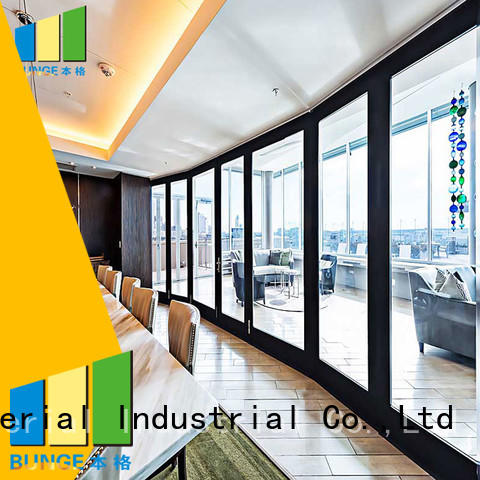 frame glass wall movable doors Bunge company