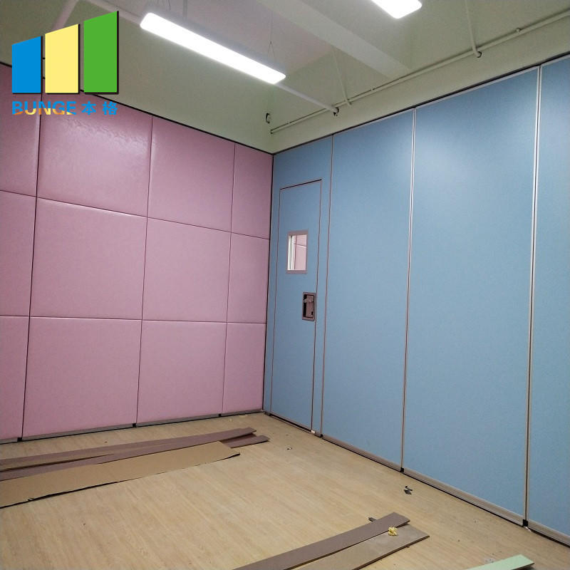 Leather Finish Operable Movable Partition Walls with Sliding Tracks System