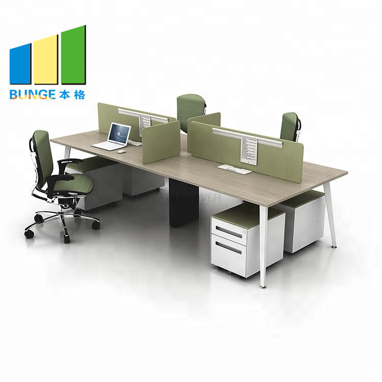 Wooden Staff Workstation Office Furniture 4-6 Person Office Desks
