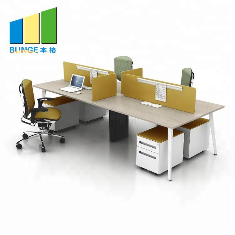 Wooden Staff Workstation Office Furniture 4-6 Person Office Desks