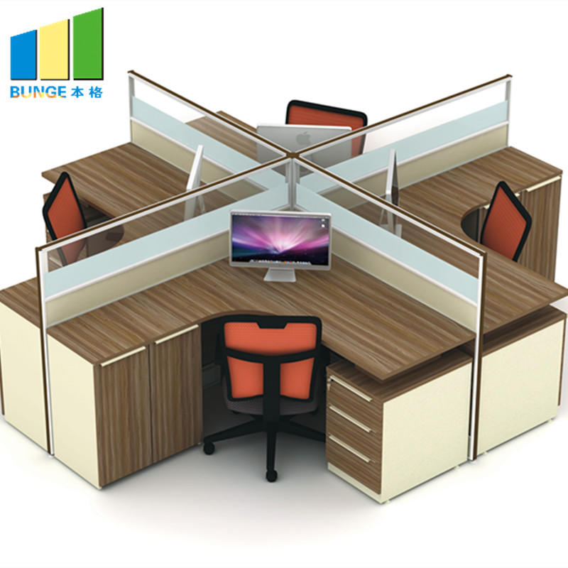 Cusomized Green Material Modular Furniture Office Workstation for 4 Person-EBUNGE
