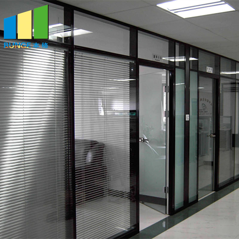 Solid Aluminum Frame Double Glazed Fixed Glass Partition Walls