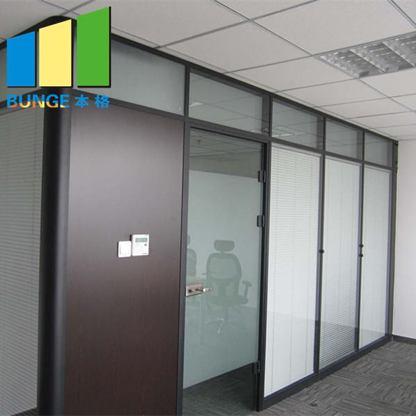 Solid Aluminum Frame Double Glazed Fixed Glass Partition Walls-EBUNGE