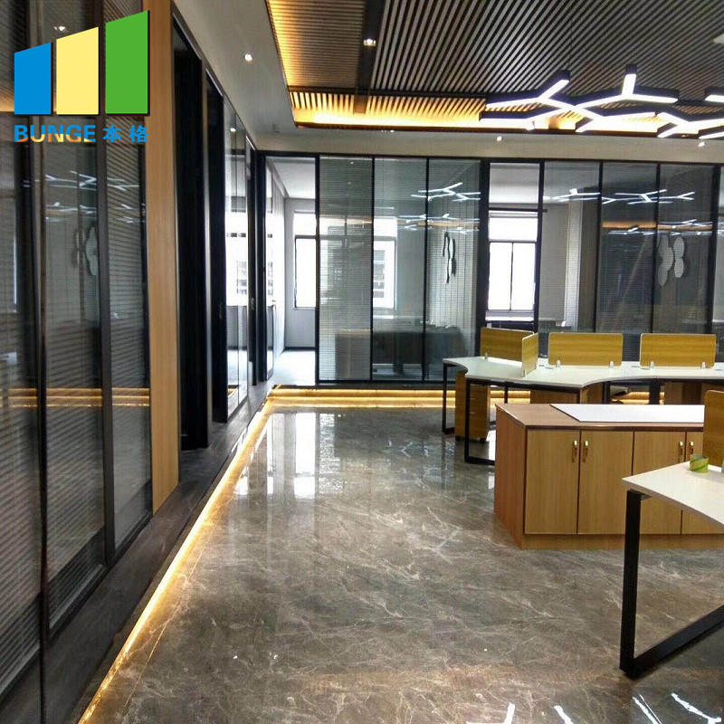 Conference Room Aluminum Alloy Frame Fixed Double Solid Office Glass Partitions