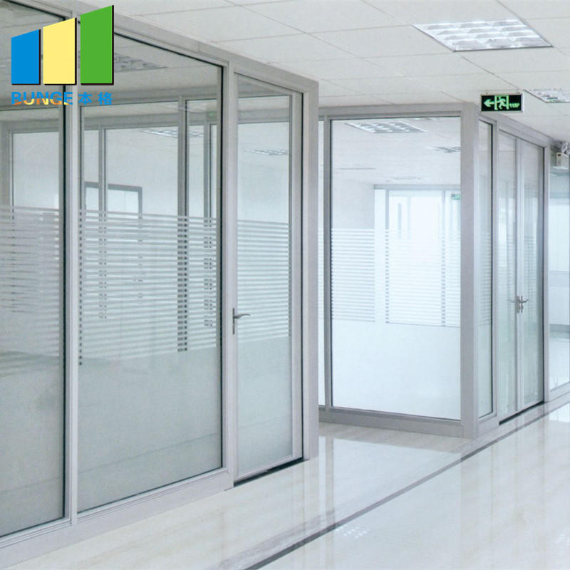 Aluminium Frame Decorative Tempered Office Solid Glass Partition Wall-EBUNGE