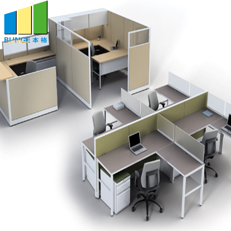 Bunge-4 Person Workstation Desk Manufacture | Aluminum Partitions Melamine Modern-2