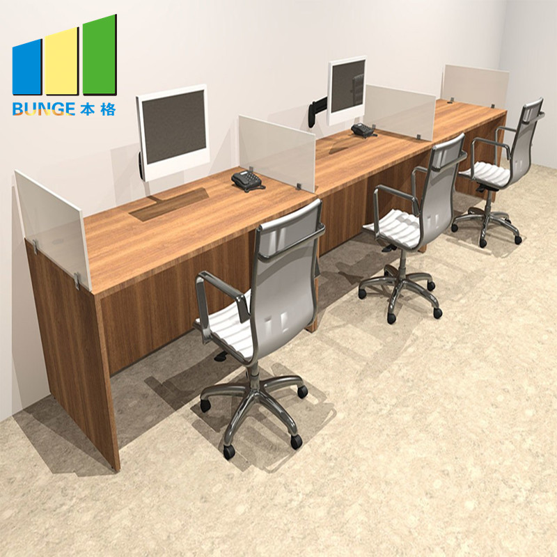 Bunge-4 Person Workstation Desk Manufacture | Aluminum Partitions Melamine Modern-5
