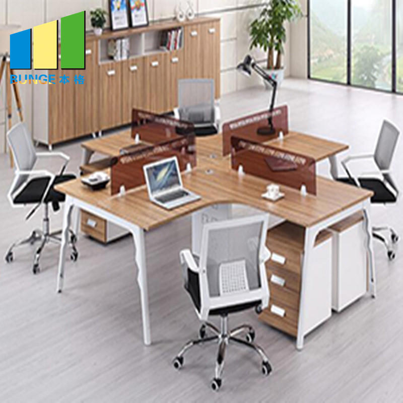 Simple Design Melamine Board Finish Office Furniture Partitions with Drawers and Desks-EBUNGE