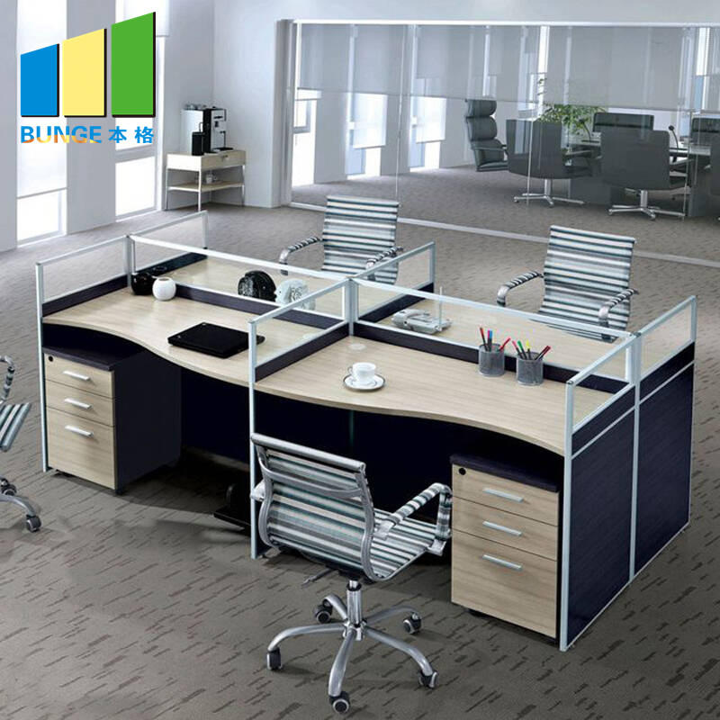 Aluminum Frame Frosted Glass Office Partition Cubicles Office Workstations-EBUNGE