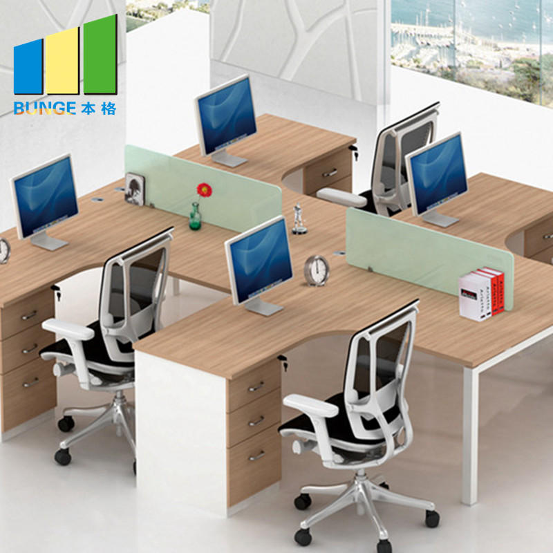 Contemporary Furniture Modular Partition Cubicle Office Workstation for 4 Seater