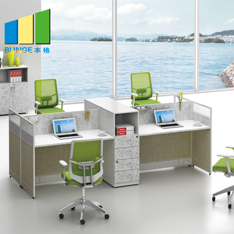 Frosted Glass and Metal Board Desk Open Office Workstation for 4 person-EBUNGE