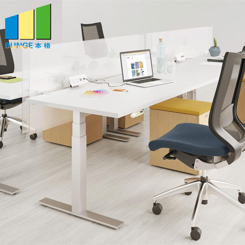 product-EBUNGE-Frosted Glass and Metal Board Desk Open Office Workstation for 4 person-img