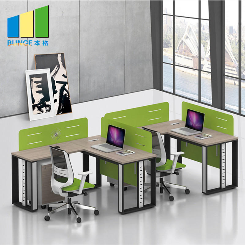 product-Frosted Glass and Metal Board Desk Open Office Workstation for 4 person-EBUNGE-img-1