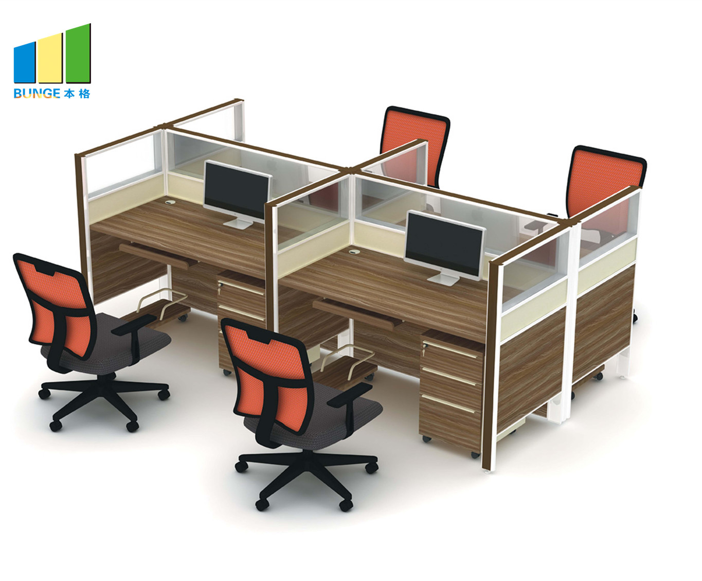 Bunge-High-quality Movable Partition | Frosted Glass And Metal Board Desk Open