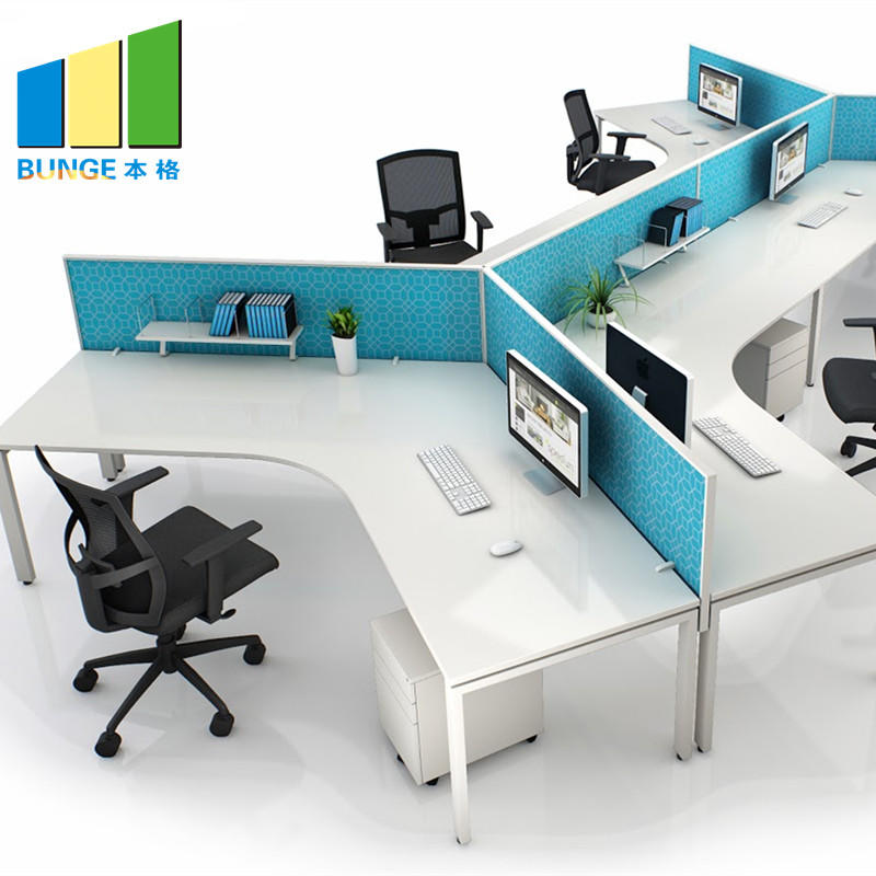 New Style Modular Partition 120 Degree Office Workstation for 3 seater