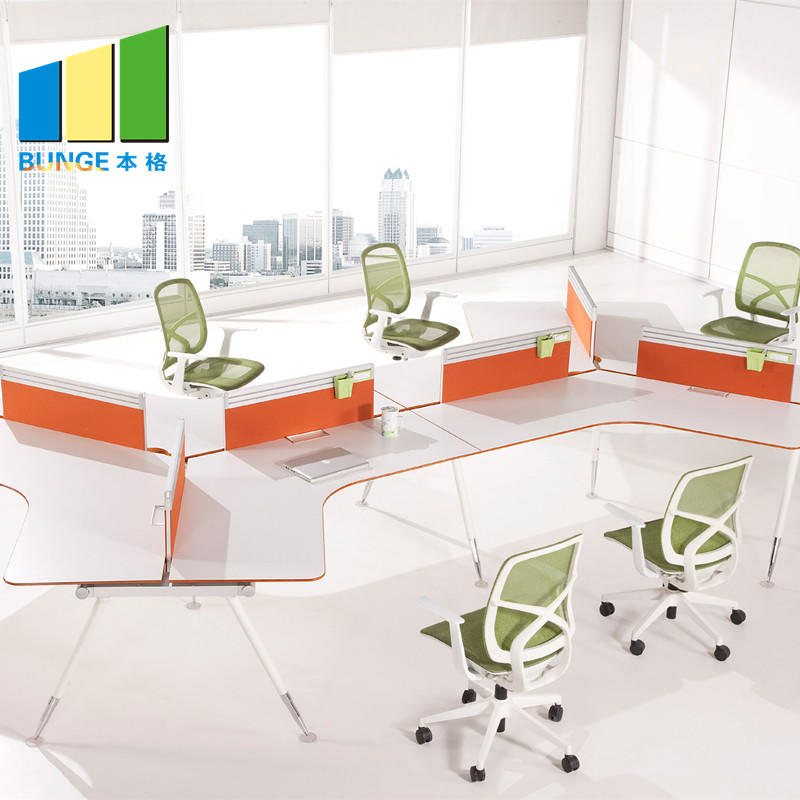 New Style Modular Partition 120 Degree Office Workstation for 3 seater-EBUNGE