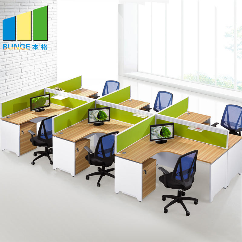Custom Design Melamine Desktop 6 Seater Office Workstation with Side Cabet