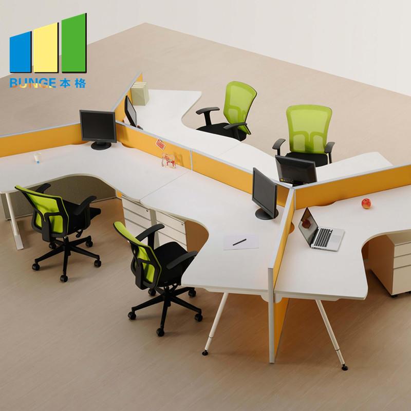 Custom Design Melamine Desktop 6 Seater Office Workstation with Side Cabet-EBUNGE