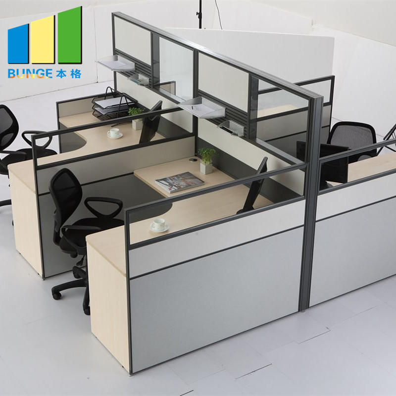Custom Design Melamine Desktop 6 Seater Office Workstation with Side Cabet-EBUNGE