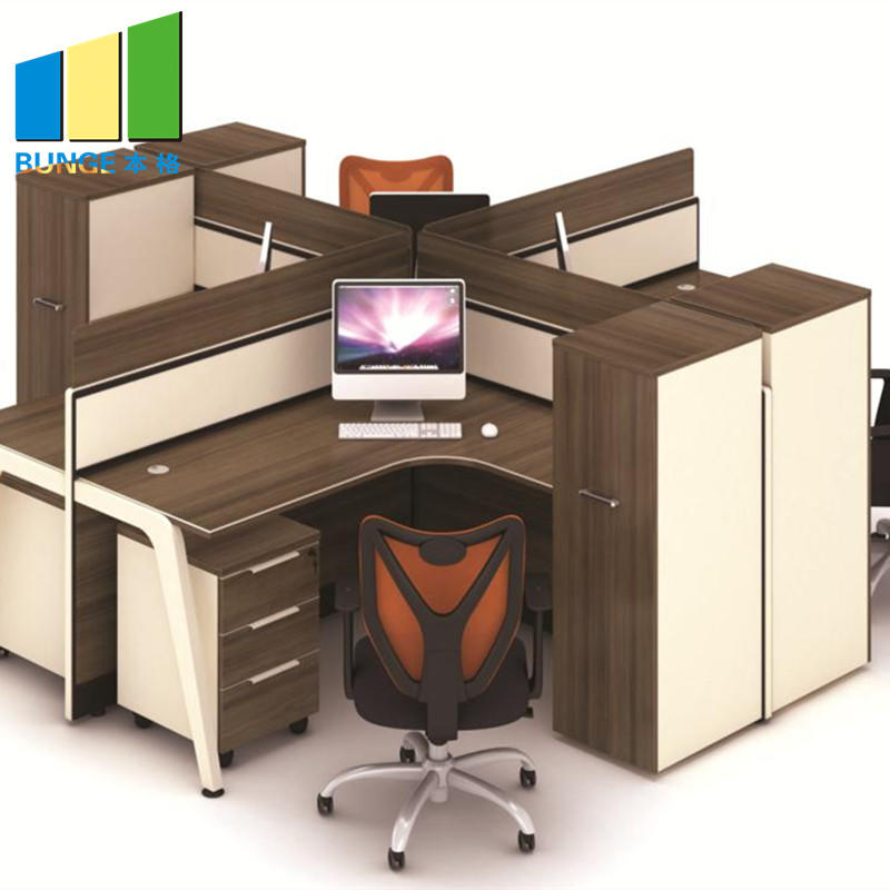 T and L Shape Modern 4 Person Office Computer Workstation Desk-EBUNGE