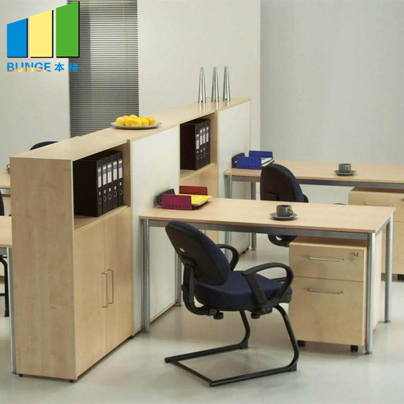 EBUNGE-T and L Shape Modern 4 Person Office Computer Workstation Desk