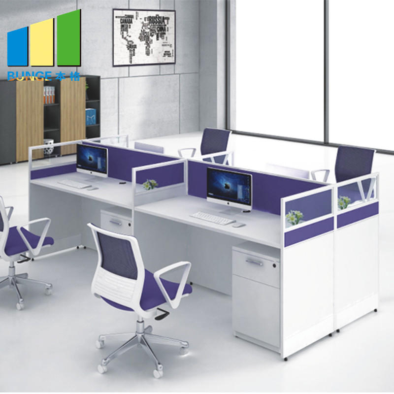 product-T and L Shape Modern 4 Person Office Computer Workstation Desk-EBUNGE-img-1