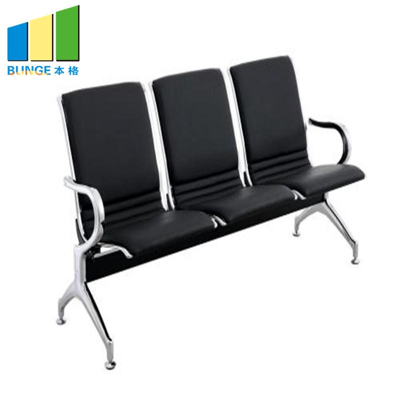 product-EBUNGE-Modern Office Chair Stainless Steel Leg Pu Leather Office Public 3 seater Waiting Cha