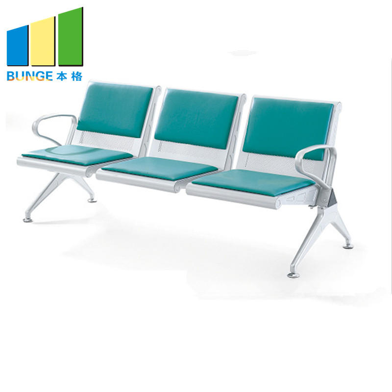 Modern Office Chair Stainless Steel Leg Pu Leather Office Public 3 seater Waiting Chair for Hospital