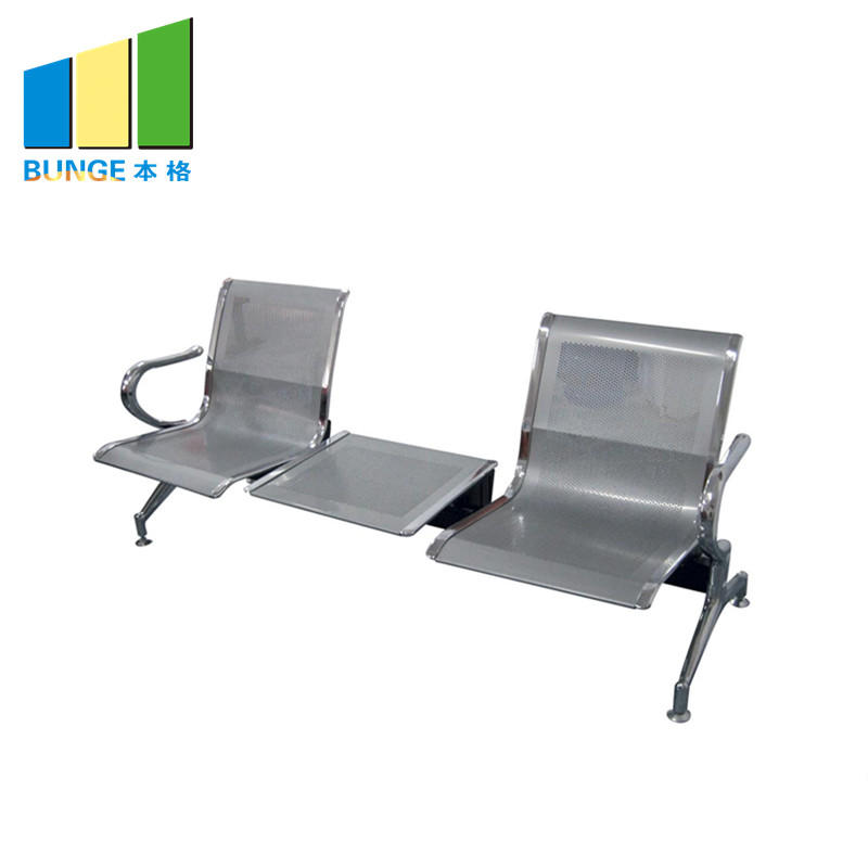 product-Modern Office Chair Stainless Steel Leg Pu Leather Office Public 3 seater Waiting Chair for -1