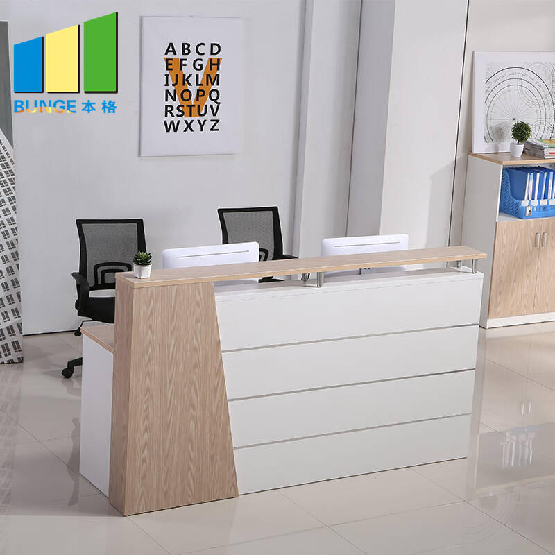 Commercial Furniture Mesh Office Chair Curved Round Painting Glass Modern Wooden Office Reception Desk