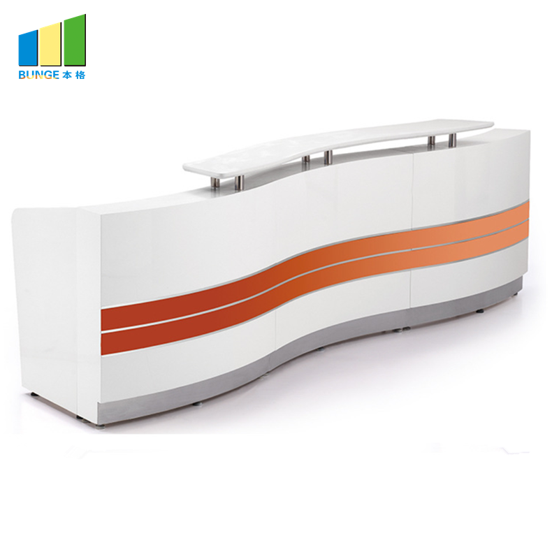 Office Partition Workstation Wooden White Office Modern Front Reception Desk