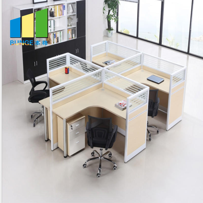 High End Modular Glass Office Workstations Cubicles 2-6 Person Seats Partitions