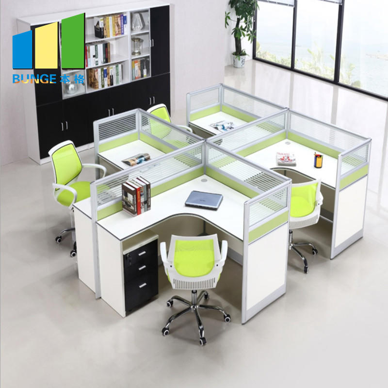 Modern Office Table Tops Office Wood Furniture 4 Person Workstations