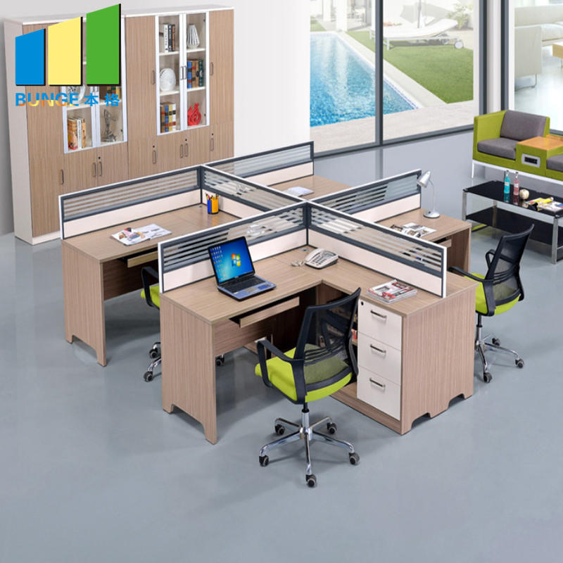 Contemporary Office Modular Furniture Cubicles 4 Seats Office Partition Workstations