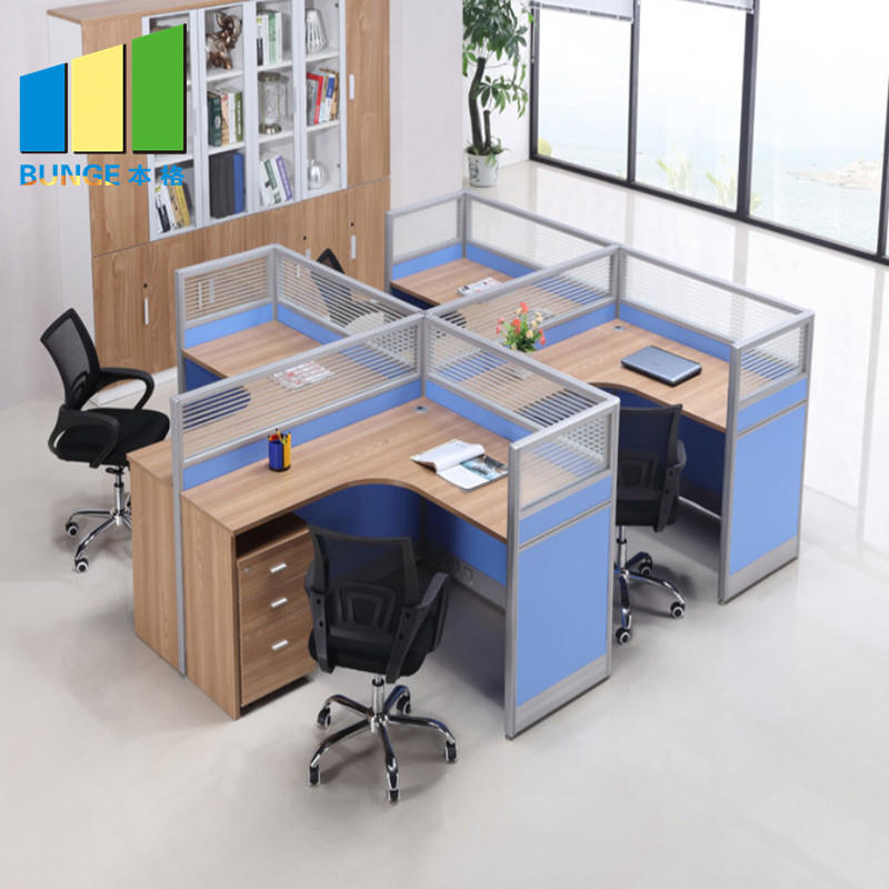 Modern Office Desk Modular Height Adjustable Office Aluminum Glass Workstation Partitions