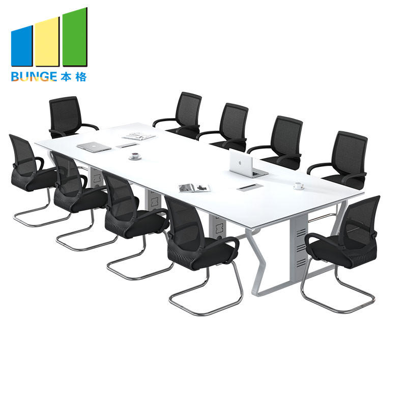 Modern Office Furniture Steel Frame Simple Meeting Conference Room Tables for 6-10 Person