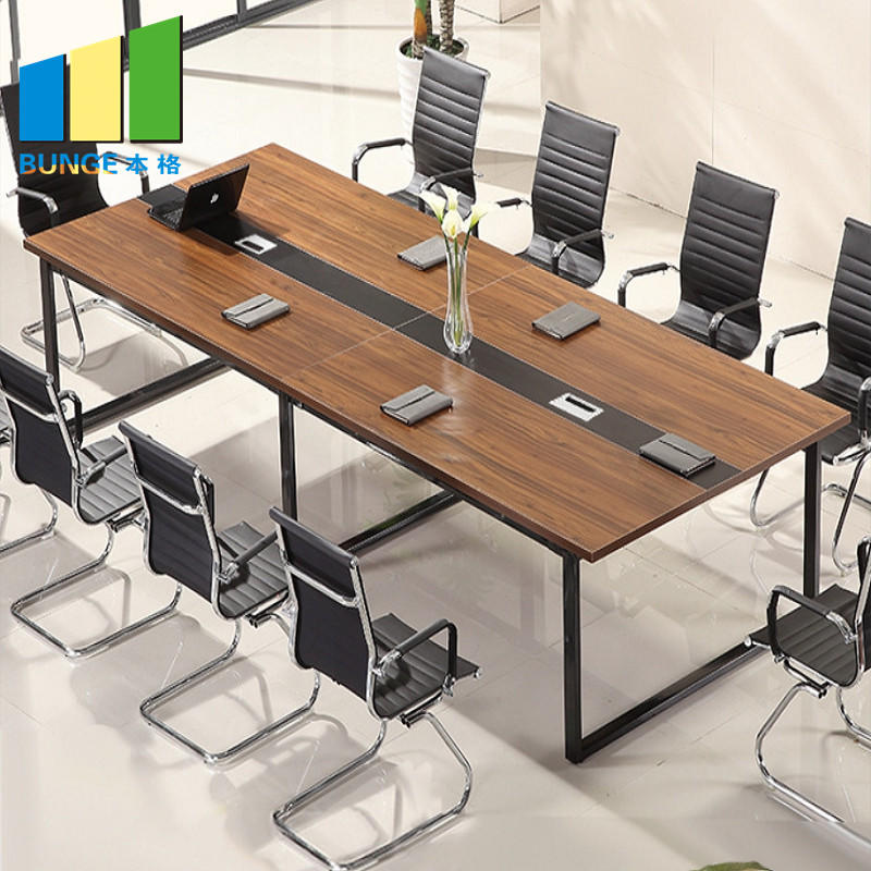 Modern Office Furniture Wooden Meeting Tables Office Conference Boardroom Desks Table Tops with Socket-EBUNGE