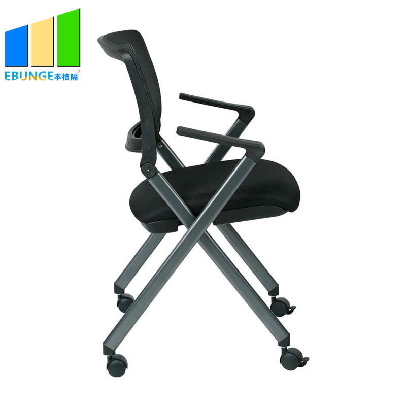 product-Conference Room Furniture Staff Portable Metal Mesh Training Folding Office Chair With Wheel-1