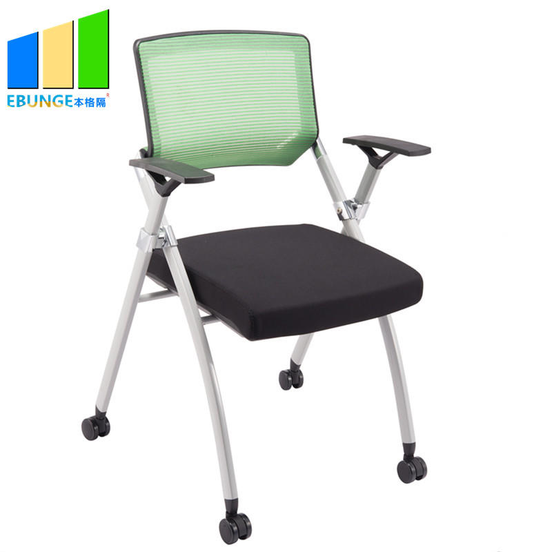 product-EBUNGE-Conference Room Furniture Staff Portable Metal Mesh Training Folding Office Chair Wit