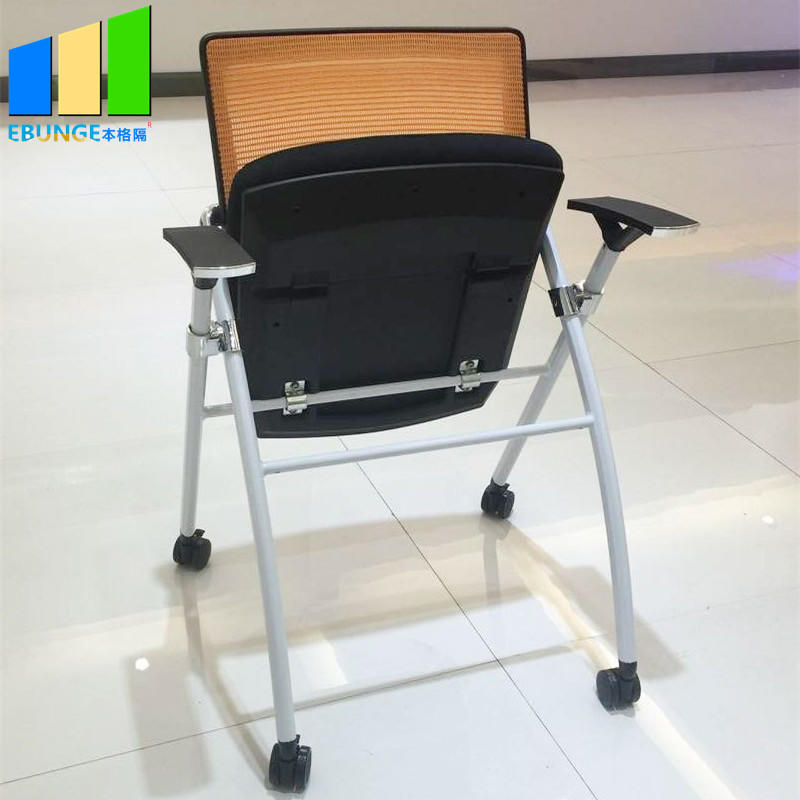 Conference Room Furniture Staff Portable Metal Mesh Training Folding Office Chair With Wheels